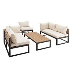 Create a new living space on any or deck with this all-weather conversation set. Set includes coffee table, deep-seated chair and two sofas with cushions that provide luxury seating for enjoyable conversation. Industrial Design Furniture, Rustic Furniture, Modern Furniture, Furniture Design, Antique Furniture, Luxury Furniture, Cheap Furniture, Furniture Dolly, Discount Furniture