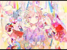Rich of colour. Yukata Anime, Manga Anime, Anime Angel, Kawaii Anime, Vocaloid, A Silent Voice, Christmas Drawing, Anime People, Cute Chibi