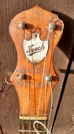 Keech banjolele headstock Banjo Ukulele, Banjos, Musical Instruments, Stew, Musicals, Boxes, Vintage, Guitars, Music Instruments