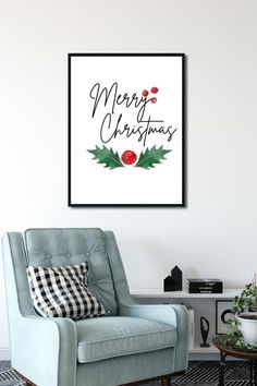 Merry Christmas Holly Wall PrintHolly Christmas image 5 Christmas Wall Art, Christmas Images, Christmas Holidays, Merry Christmas, Christmas Decorations, Home Wall Art, Wall Art Decor, Apartment Wall Art, Traditions To Start