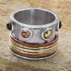 Sterling Genuine Onyx,Copper,Brass Spinner Ring - New Age & Spiritual Gifts at Pyramid Collection