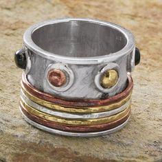 Sterling, Onyx, Copper, Brass Spinner Ring for $79.98