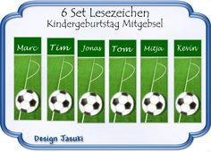 Lesezeichen Fußball Mitgebsel Kindergeburtstag von Jasuki auf DaWanda.com