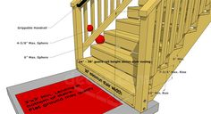 Pvc outdoor stair railings how to replace a deck stair railing wood stairs and stair railings china indoor outdoor stair railing iron outdoor stair railing … Deck Building Plans, Building Stairs, Deck Plans, Boat Building, Building Code, Deck Steps, Porch Steps, Stair Steps, Outdoor Stair Railing