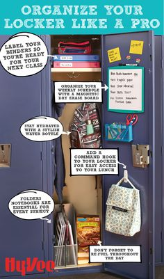 Keep your locker organized with these tips and tricks. Shop your back to school essentials by clicking on this post. Keep your locker organized with these tips and tricks. Shop your back to school essentials by clicking on this post. Middle School Lockers, Middle School Supplies, Middle School Hacks, Life Hacks For School, Back To School Hacks, School Study Tips, Back To School Shopping, Binders For School, 6th Grade School Supplies