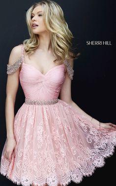 Lace Blush Sherri Hill 50503 Short A Line Homecoming Dress