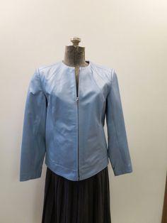 55e834dc6f9 Vintage Leather Jacket Light Blue Zip Front Size P-Petite Dialogue Brand  Shoulder Accent Seams