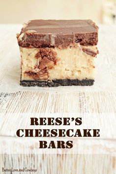 Reese's Cheesecake Bars are a delectable dessert that begin with an Oreo crust. Next we layer a Reese's loaded, peanut butter cheesecake filling. To top it off, they are finished with a fudge-y ganache. Peanut Butter Cheesecake, Cheesecake Bars, Cheesecake Recipes, Peanut Butter Cups, Reese's Recipes, Dessert Recipes, Cheese Recipes, Delicious Desserts, Yummy Food
