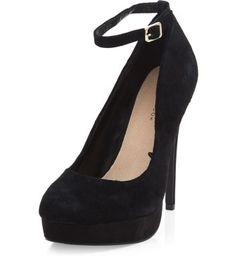 Black Suede Ankle Strap Platform Heels