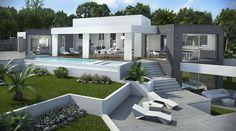 Concept villa in stile moderno con piscina e giardino architettura design
