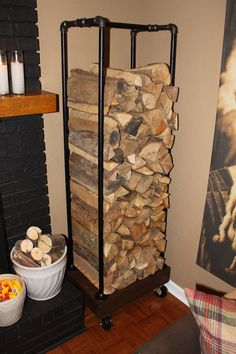 Plumbing Pipe Log Holder ~ I like this idea, you can roll it to the backdoor, fill it up and roll it back into place.