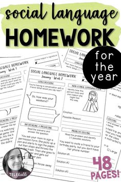 Social Language Homework for the Year Speech Therapy Distance Learning Social Skills Lessons, Social Skills For Kids, Social Skills Activities, Teaching Social Skills, Speech Activities, Life Skills, Shape Activities, Articulation Activities, Coping Skills