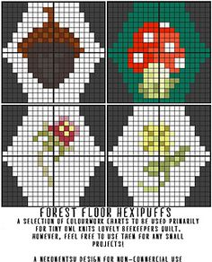 A selection of forest floor-themed hexipuff charts primarily for use with Tiny Owl Knits' wonderful Beekeeper's Quilt.