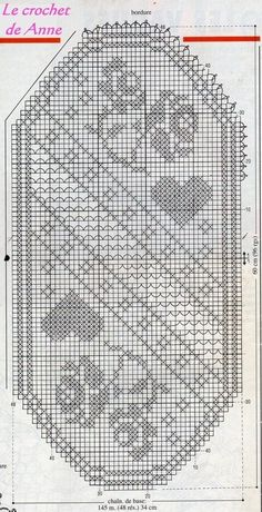 Centro rettangolare a filet con rose Filet Crochet Charts, Crochet Motifs, Thread Crochet, Crochet Doilies, Crochet Stitches, Doily Patterns, Cross Stitch Patterns, Crochet Patterns, Art Au Crochet