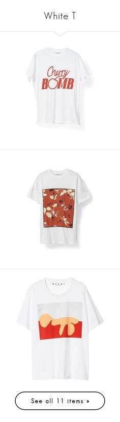 """""""White T"""" by clarastenfeldt ❤ liked on Polyvore featuring tops, t-shirts, ganni, cherry top, white t shirt, white tee, white top, tees, colorful t shirts and cotton jersey"""