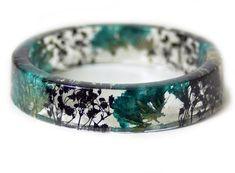 Teal Flower Bracelet -Real Flowers  - Real Flower Jewelry- Flower Jewelry -Teal Flower Jewelry-  Jew