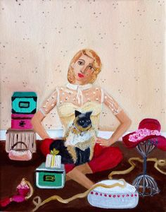 Rosie and her cat by ShimonaStudio on Etsy https://www.etsy.com/listing/203689042/rosie-and-her-cat