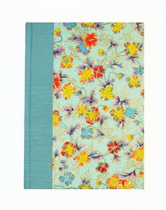 """Blank Book Lined Paper Journal """"PAINTED DAISIES"""" #WolfiesBindery-Japanese Decorative Paper, Antioch Bookplate, Binders Board, Woven Headband, Bookcloth, Satin Ribbon .. $25.00"""