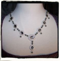 Black Rain Pearls Tudor Renaissance Necklace