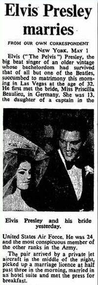 Elvis Presley - Wedding news