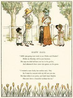 Happy Days by Kate Greenaway ~ Free Printable Vintage Storybook Pages