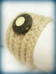Tan crocheted yarn bracelet boho hippie wrap by TwiceStitched