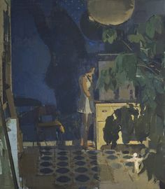 sangram majumdar,   night life 1, oil on linen, 38 x 42 in, 2009 (private collection)