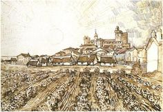 View of Saintes-Maries with Church and Ramparts by Vincent Van Gogh Drawing, Pen and Ink  Arles: June, 1888