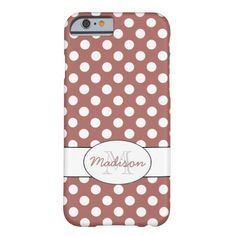 Personalize Trendy Marsala White polka dots Monogram Barely There iPhone 6 Case by #PLdesign #marsala