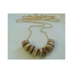 Gold plated ball chain + Picture Jasper 28 inches in length  Picture Jasper is a groundung and harmonizing stone. It is said to encourage