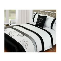 5pc Bed in a Bag - Silver Black & White Duvet Cover Complete Modern Bedding Set