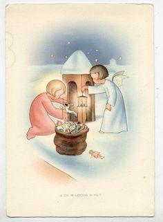 Angeli Bambini Giocattoli Bambola Neve Xmas Cute Angels PC Circa 1950