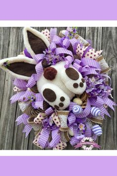 Burlap Bunny Butt Easter Wreath, Purple Easter Wreath, Bunny Easter Wreath Made by Simply Charming Wreaths Easter Wreaths, Holiday Wreaths, Holiday Crafts, Holiday Decorations, Wreath Crafts, Diy Wreath, Wreath Ideas, Diy Ostern, Trendy Tree