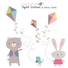 Kite+Flying+Clipart++Rabbit+Bear+and+Bird++by+CollectiveCreation,+$4.00