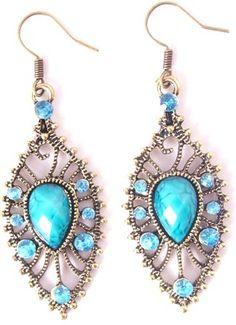Single Leaf Crystal Drop Earrings