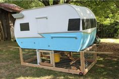 old camper converted into a chicken coop.