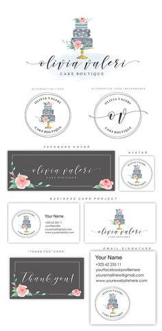 Bakery Logo Design Cake and Patisserie Logo Floral Watercolor Cake Cake Logo Design Watermark Logo Bakery Package Bakery logo set 131 Bakery Branding, Bakery Packaging, Bakery Logo, Branding Kit, Bakery Names, Logo Patisserie, Boutique Patisserie, Patisserie Design, Bakery Design