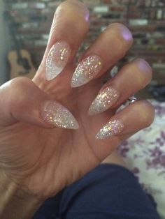 amazing picks for clear nail designs beautiful nails, ac Sparkle Acrylic Nails, Stiletto Nails Glitter, Clear Glitter Nails, Almond Acrylic Nails, Pointy Acrylic Nails, Crazy Acrylic Nails, Pink Sparkle Nails, Coffin Acrylics, Nail Arts