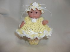 Crochet Dress Set For 5 inch Berenguer Itty Bitty Lots To Love Doll