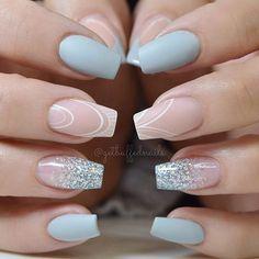 Blue Grey @gfa_australia FW173 @glitter_heaven_australia glitter ✨ @uglyducklingnails fufu pink acrylic and matte top