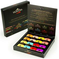 Valrhona - Coffret dégustation grands crus chocolat noir et lait - 32 carrés