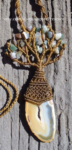 Natural Handmade Micro Macrame Tree of Life by tanyaedasilva