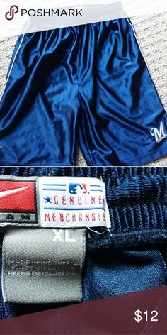 Genuine Milwaukee Brewers Mdse. Shorts XL 100%polyester shorts. Elastic waist with inside drawstring. Bottoms Shorts