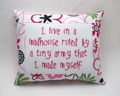 Funny Cross Stitch Pillow Pink Black And Green by NeedleNosey
