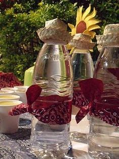 Western theme party idea for bandana water bottles