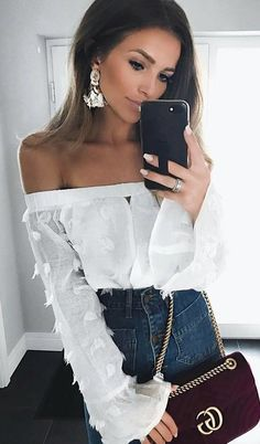#summer #outfits  White Off The Shoulder Top + Denim High Waisted Jeans