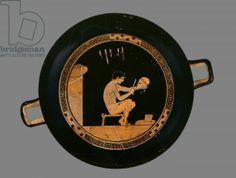 Attic red-figure cup depicting a young helmet-maker, from Orvieto, c.480 BC (ceramic), Antiphon painter (fl. 5th century BC) / Ashmolean Museum, University of Oxford, UK / The Bridgeman Art Library