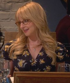 Bernadette's black and yellow floral v-neck dress on The Big Bang Theory.  Outfit Details: http://wornontv.net/30484/ #TheBigBangTheory