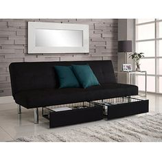 For a spare room/office. Sitting space, sleeping space and storage all in one. Keep the pillows and bedding conveniently stashed below.