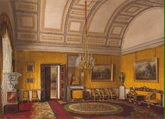 Watercolor of The 1st Reserved Apartment, The Yellow Salon of Grand Duchess Maria Nikolaievna Romanova (1819-1876) Russia in the Winter Palace, St Petersburg, Russia by Eduard Hau. The 2nd child of Tsar Nicholas I Pavlovich Romanov (Reign: 1825-1855) Russia & Princess Charlotte-Alexandra Feodorovna (1798-1860) Prussia. Wife 1st of Maximilian de Beauharnais (1817-1852) 3rd Duke of Leuchtenberg, Bavaria & 2nd 1854 Count Grigori Stroganov (1824-1879) Russia.